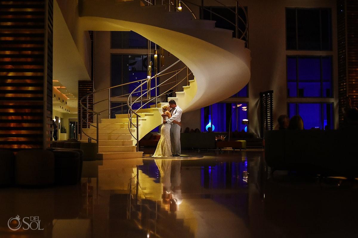 beautiful creative night wedding portrait, Destination Wedding Secrets Silversands Riviera Cancun, Mexico