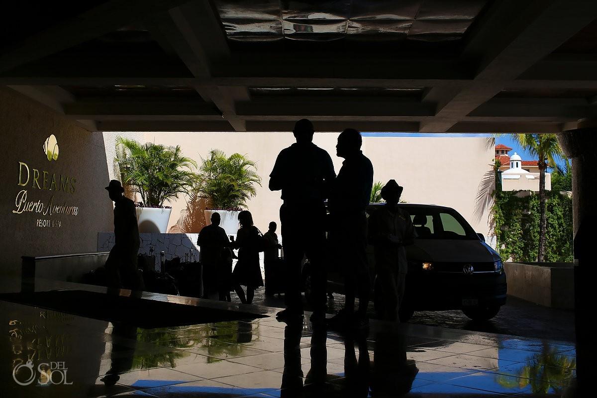 Street photography silhouette lobby Dreams Puerto Aventuras, Riviera Maya, Mexico