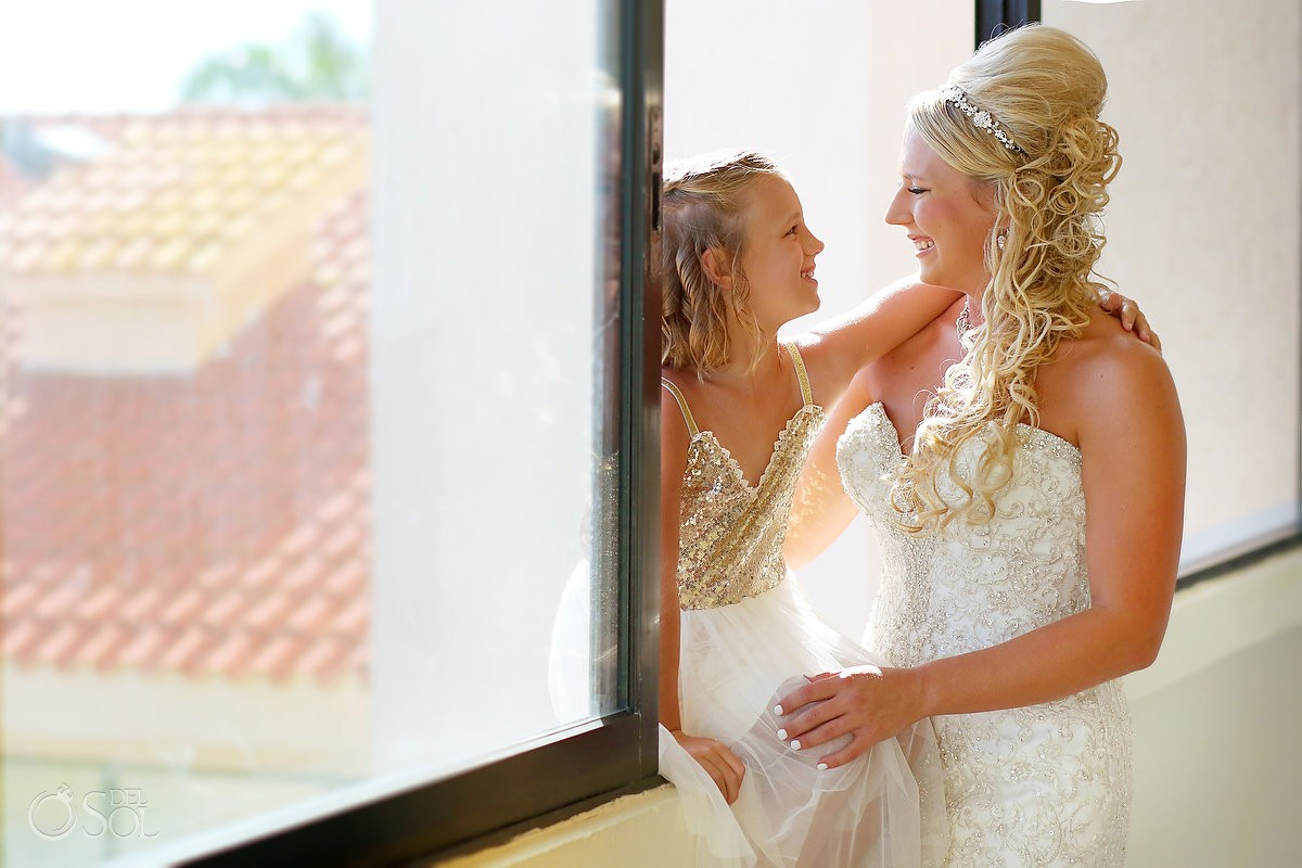 family love moment candid bride and daughter portrait Wedding at Dreams Puerto Aventuras, Riviera Maya, Mexico