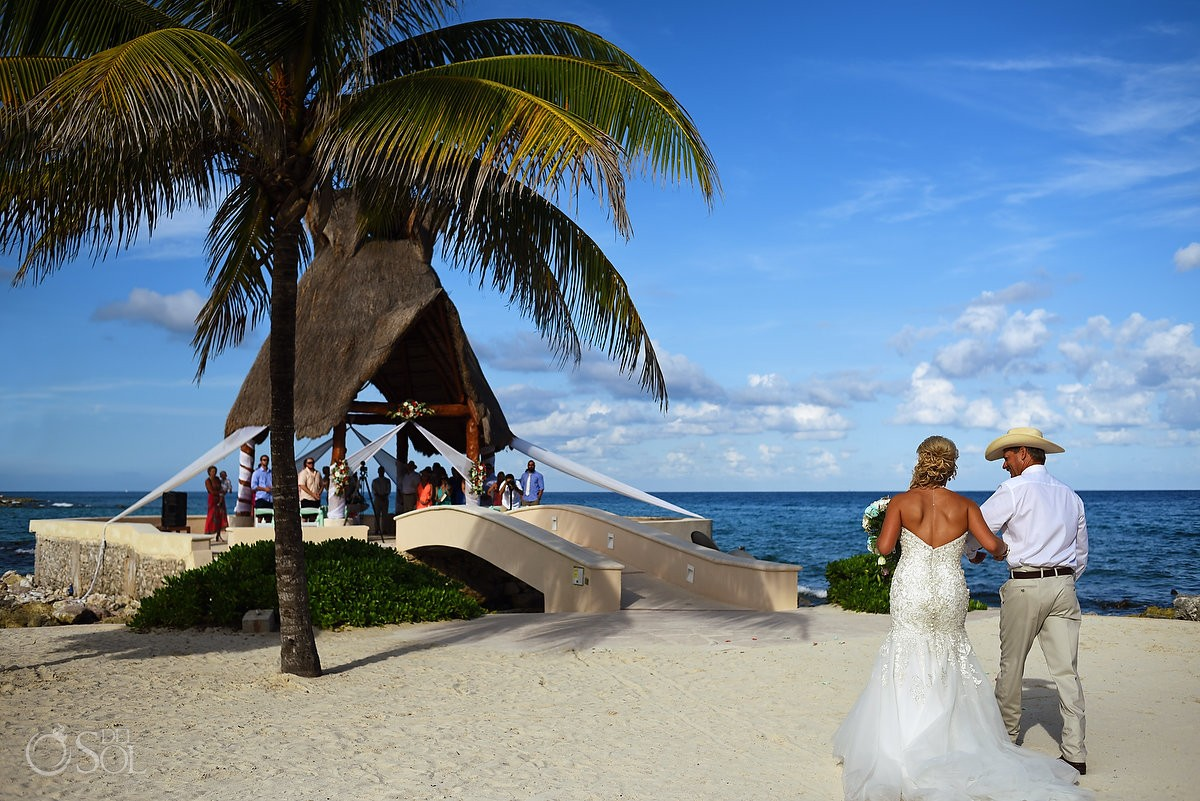 bride entrance processional Dreams Puerto Aventuras Gazebo Wedding Riviera Maya, Mexico