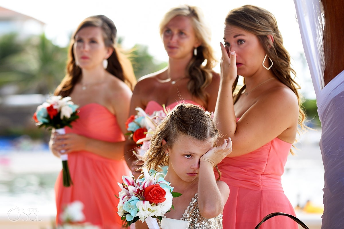 emotional ceremony moment flower girl bridesmaids crying Dreams Puerto Aventuras Gazebo Wedding Riviera Maya, Mexico