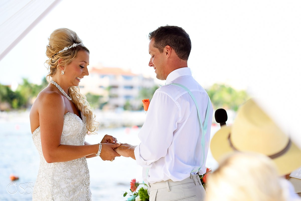 funny wedding photo bride pulls face ring exchange Dreams Puerto Aventuras Gazebo Wedding Riviera Maya, Mexico