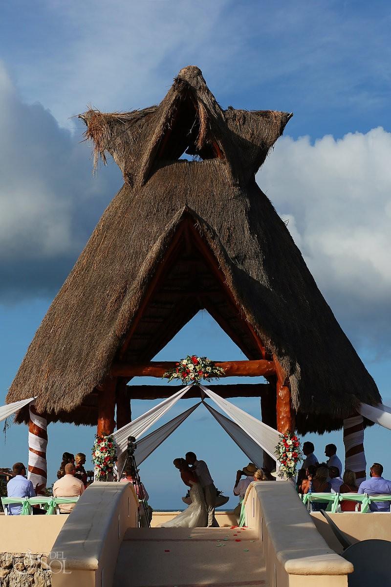 first kiss Dreams Puerto Aventuras Gazebo Wedding Riviera Maya, Mexico