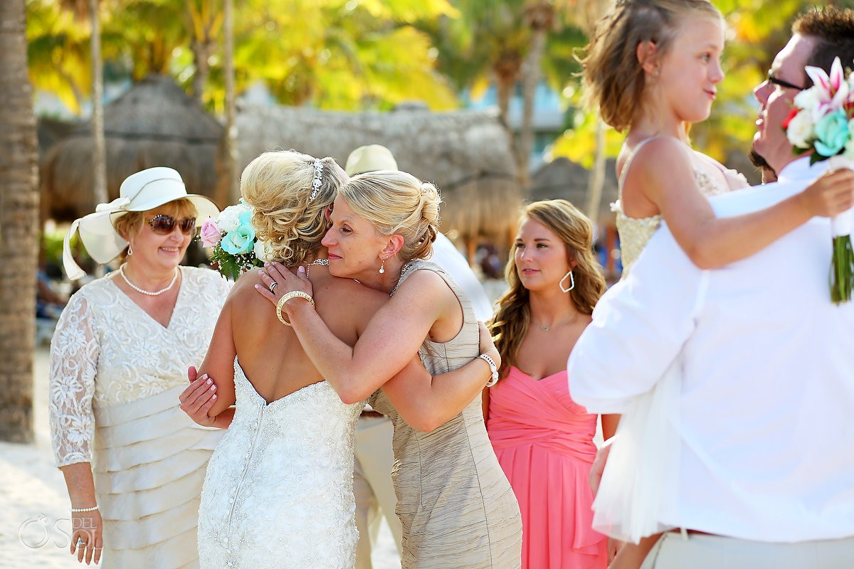 family love hugs celebration Dreams Puerto Aventuras Gazebo Wedding Riviera Maya, Mexico