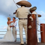 mariachi wedding portrait Barracuda Beach Bar cocktail hour Dreams Puerto Aventuras, Riviera Maya, Mexico