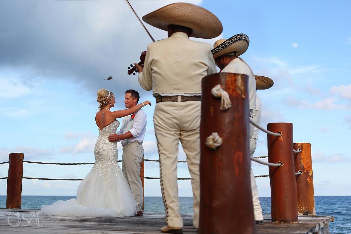 mariachi wedding portrait Barracuda Beach Bar cocktail hour Dreams Puerto Aventuras, Riviera Maya, Mexico