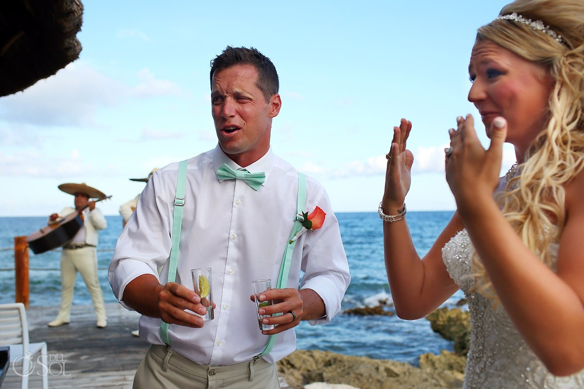 funny wedding photo tequila shot face destination wedding cocktail hour barracuda beach bar Riviera Maya, Mexico