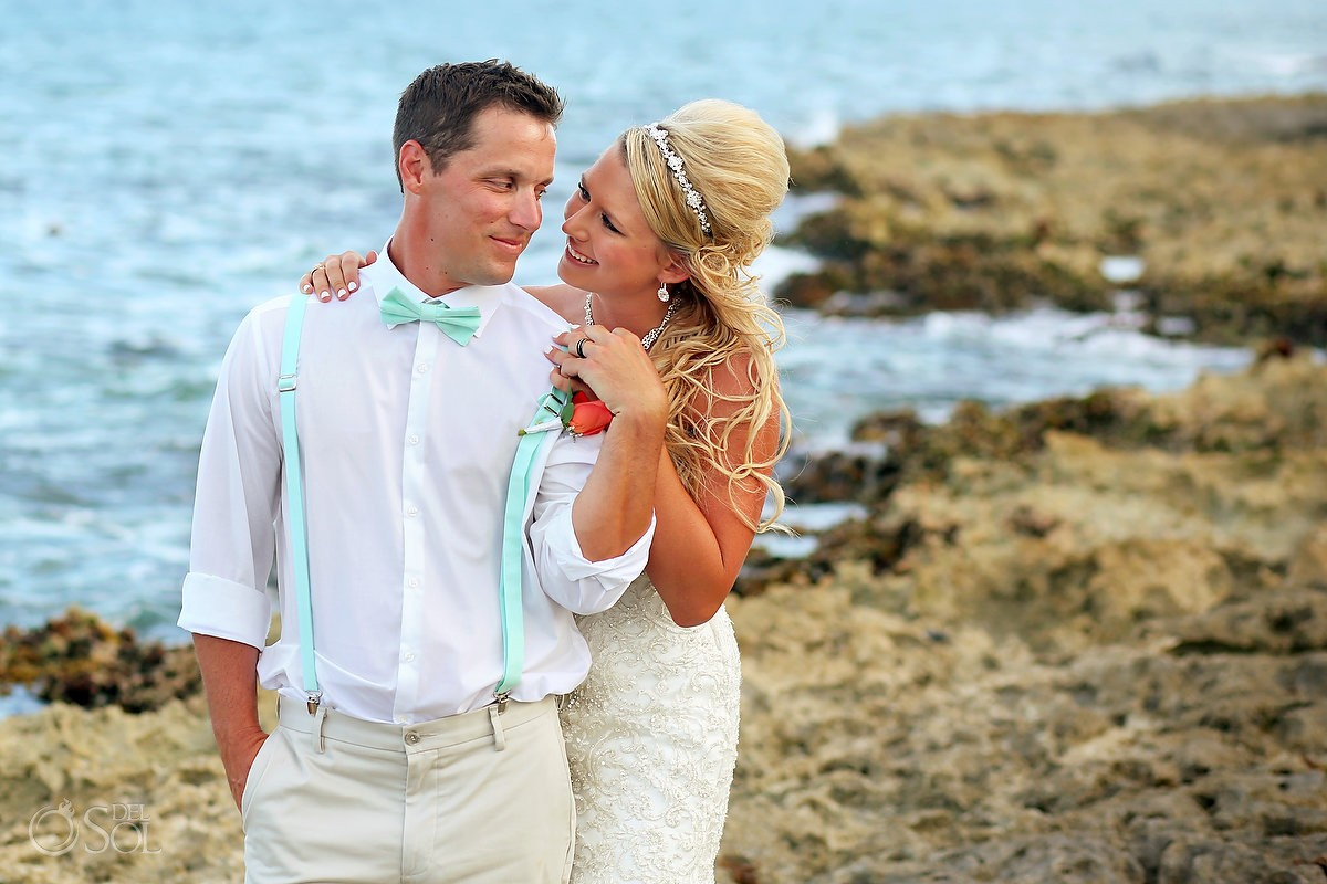 beach wedding portrait Dreams Puerto Aventuras, Riviera Maya, Mexico