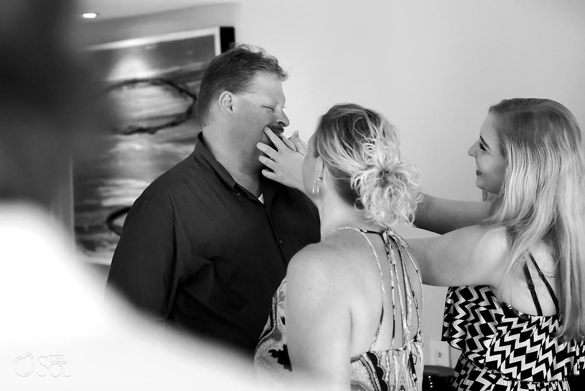 Smile dad! Funny moment getting ready, destination wedding, Riviera Maya, Mexico
