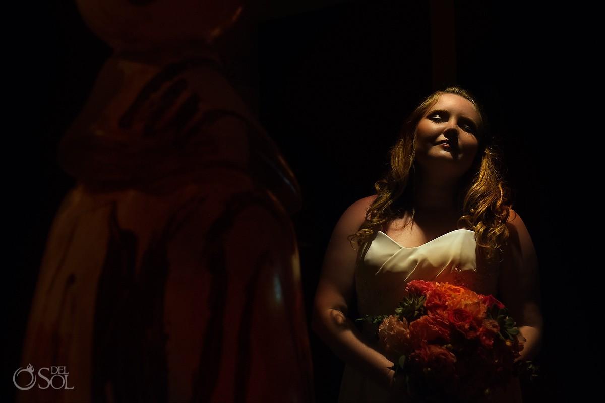 Bride portrait holdng colorful bouquet portrait, Dreams Puerto Aventuras, Quintana Roo, Mexico