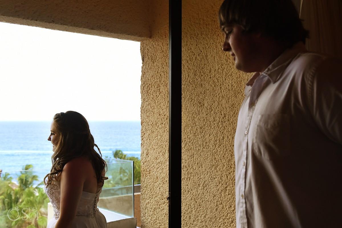 First Look, Beach Wedding at Dreams Puerto Aventuras, Riviera Maya, Mexico
