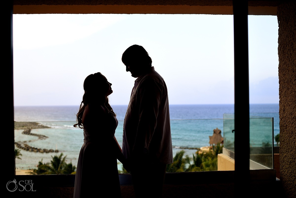 Silhouette Couple Portrait at Puerto Aventuras, Riviera Maya, Mexico