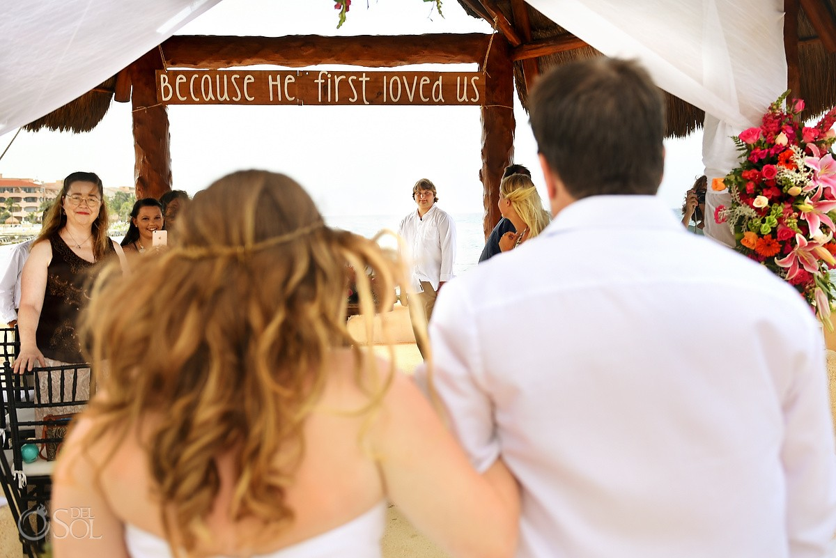First Look, Beach Wedding at Dreams Puerto Aventuras, Riviera Maya, Mexico