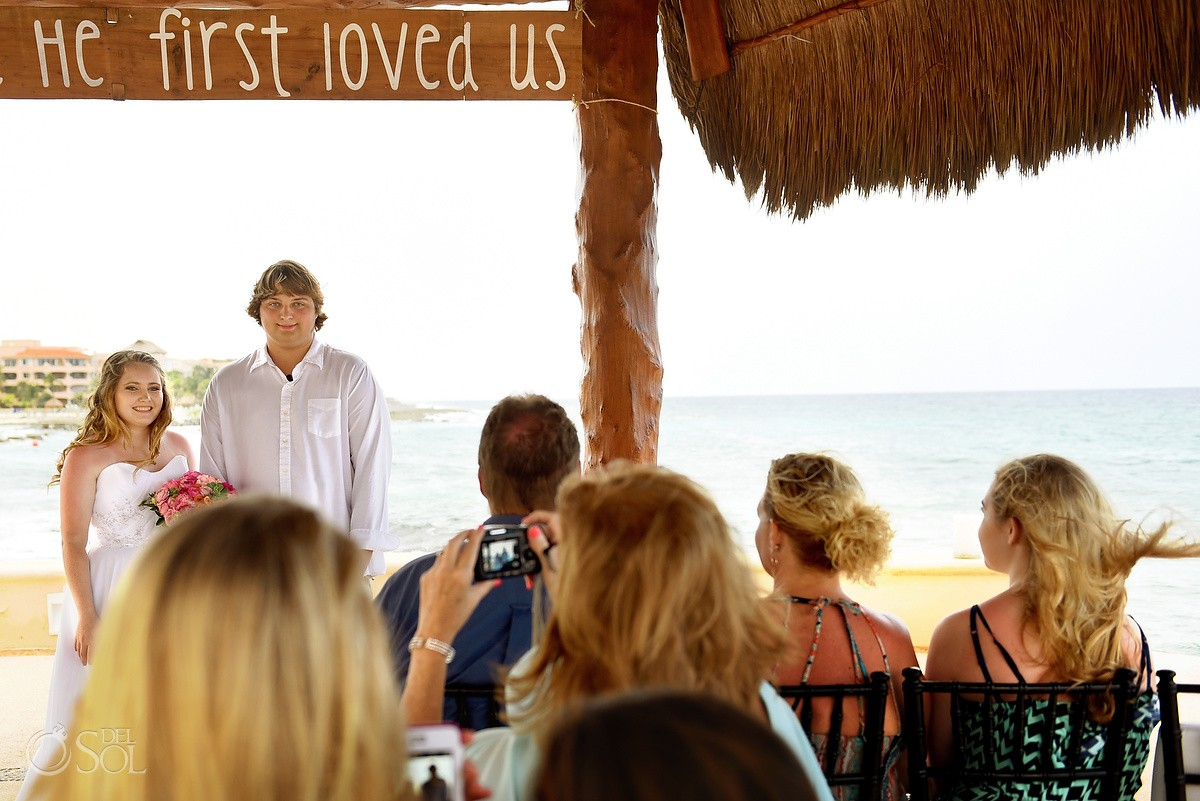 He first loved us sign, Gazebo wedding Dreams Puerto Aventuras gazebo, Riviera Maya, Mexico