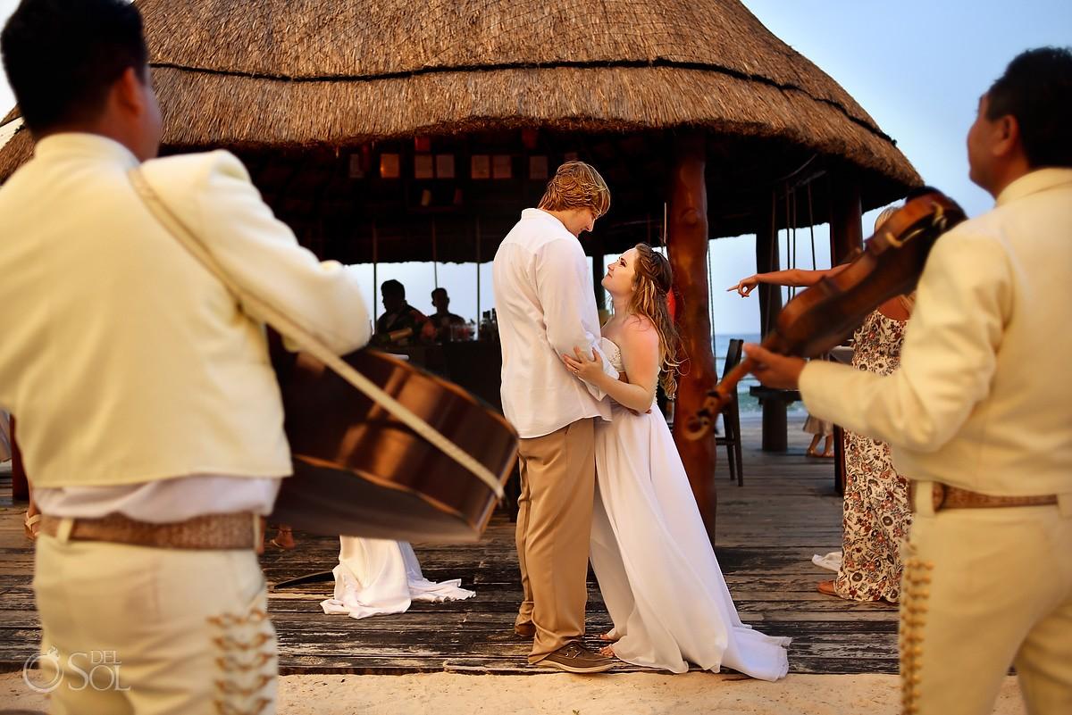 Mariachi wedding portrait barracuda beach bar cocktail hour Dreams Puerto Aventuras, Mexico