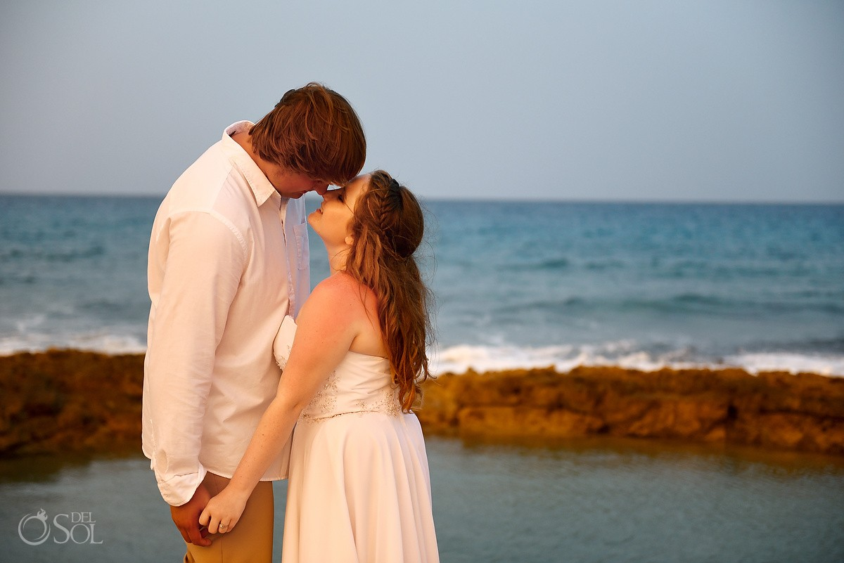 Romantic sunset wedding portrait at the beach wedding, Dreams Puerto Aventuras, Mexico