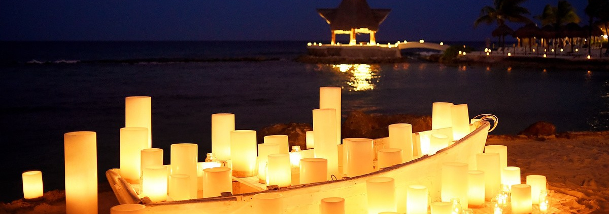Love boat destination wedding reception decor idea by Candle Boutique Dreams Puerto Aventuras