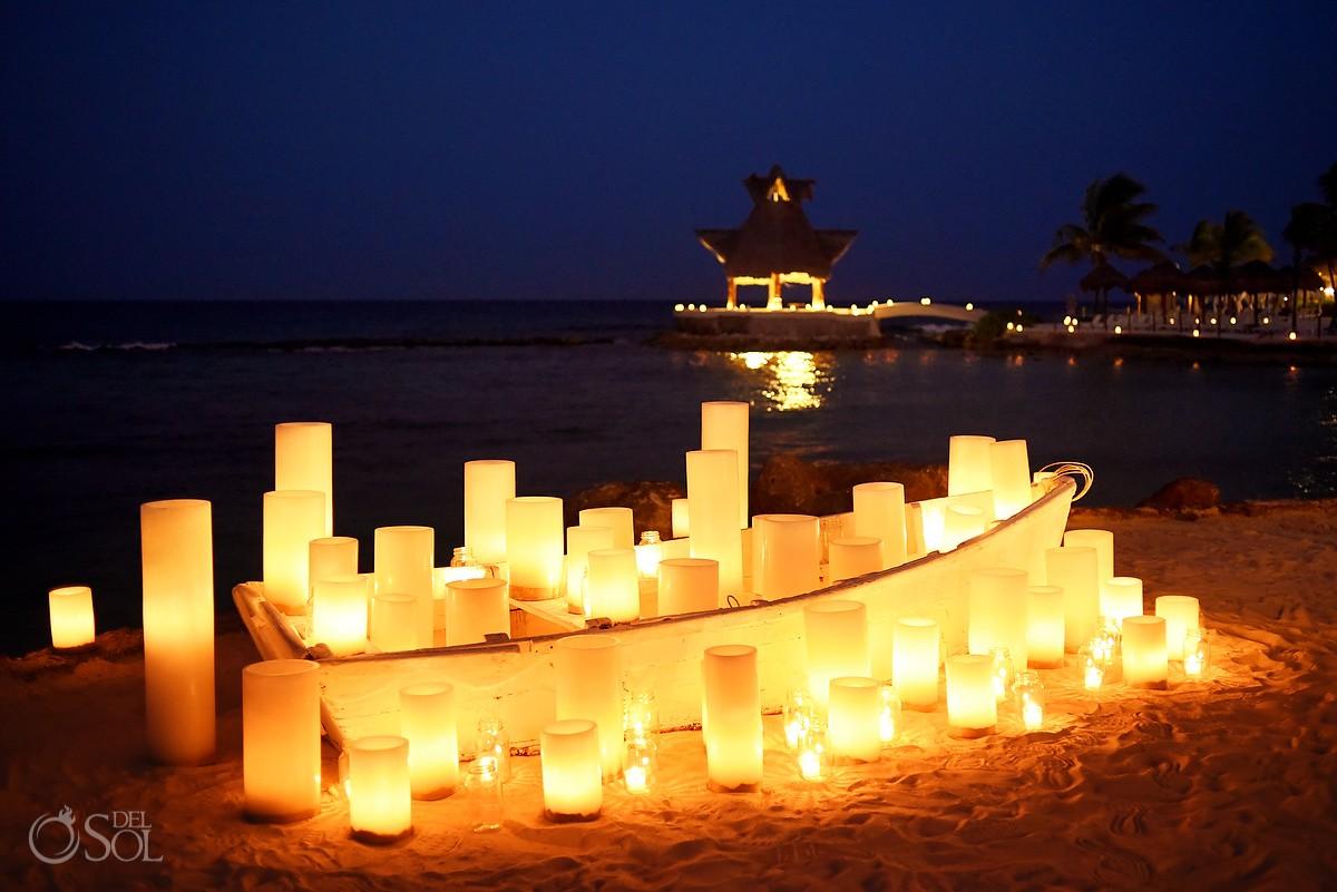 Love boat destination wedding reception decor idea by Candle Boutique Dreams Puerto Aventuras