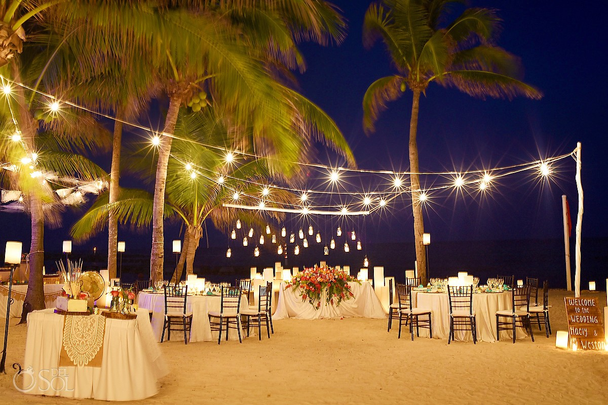 destination wedding reception set up creative lighting candle, Dreams Puerto Aventuras, Mexico
