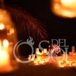 Creative night time portrait candle lit love boat Dreams Puerto Aventuras #travelforlove