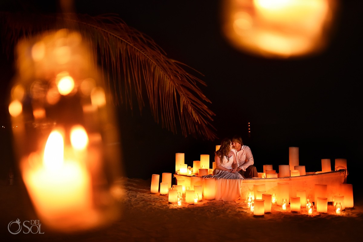 Creative night time portrait candle lit love boat Dreams Puerto Aventuras #travelforlove