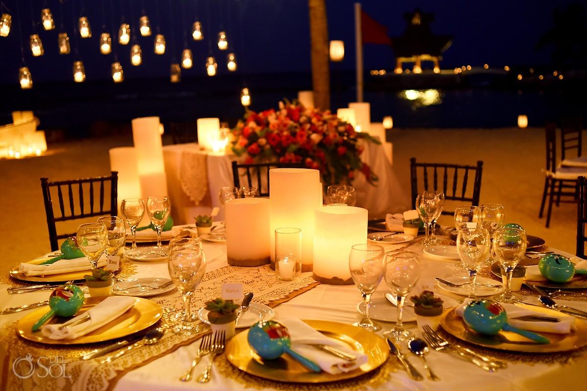 candle centerpiece wedding reception decor idea by Candle Boutique Dreams Puerto Aventuras
