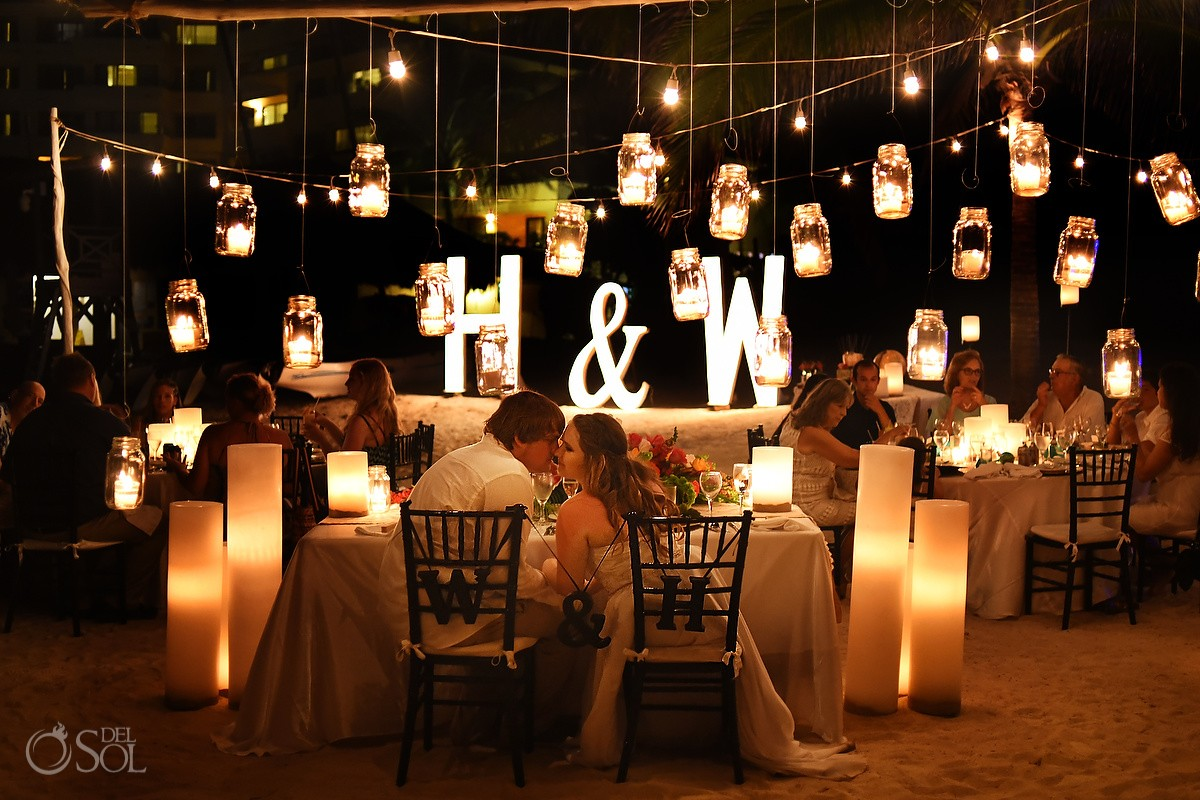 hanging candles in mason jars wedding reception decoration candle ideas Dreams Puerto Aventuras, Mexico