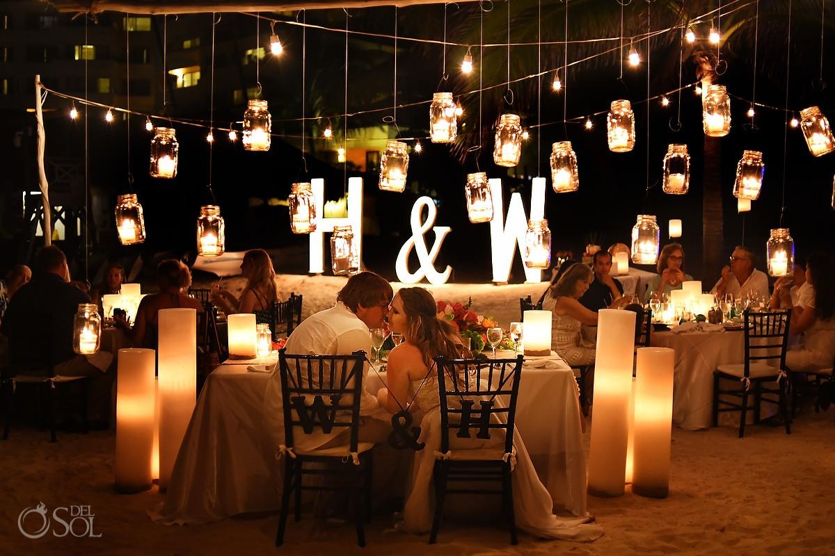 hanging candles in mason jars wedding reception decoration candle ideas Dreams Puerto Aventuras, Mexico