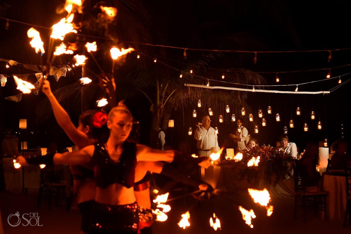 fire dancer destination wedding reception entertainment ideas Dreams Puerto Aventuras, Riviera Maya, Mexico