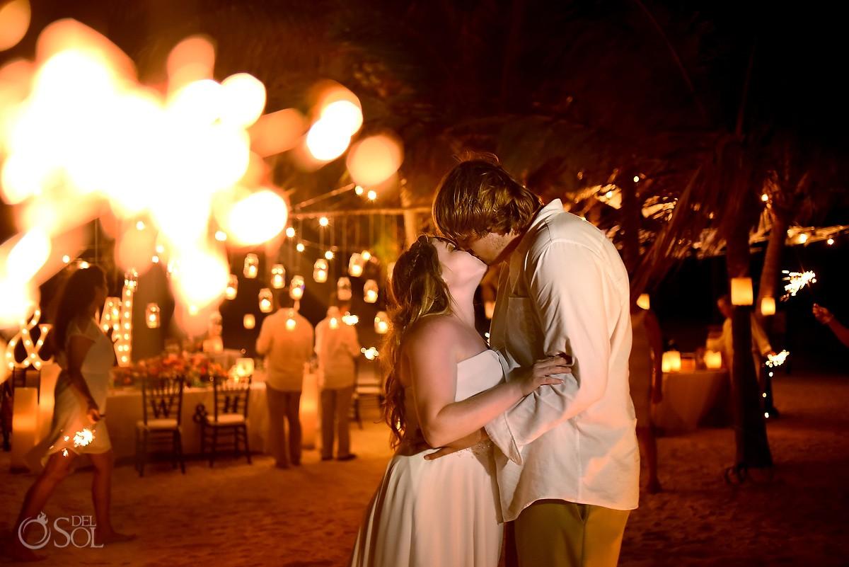 Candid sparkeler exit Portrait beach wedding reception, Dreams Puerto Aventuras, Mexico