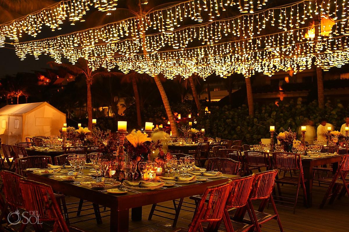 Candle Boutique destination wedding reception decoration installation, Playa del Carmen, Rivera Maya, Mexico.