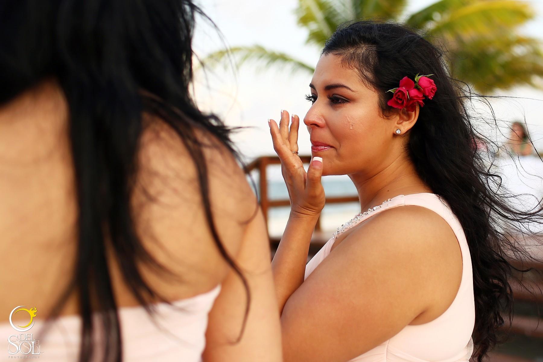 tears of joy destination wedding reception, Royalton Riviera Cancun beach bar, Mexico