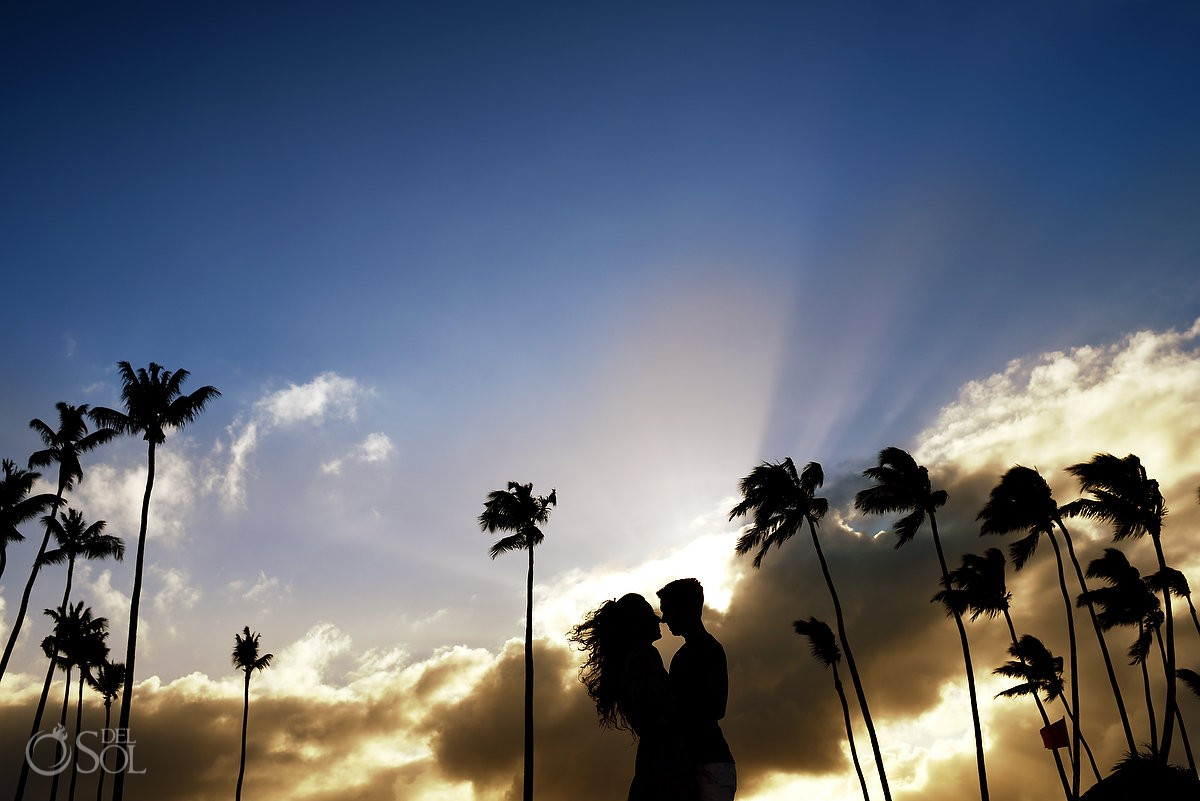 Sunset silhouette, engagement portraits, Paradisus Palma Real Golf & Spa Resort Punta Cana, Dominican Republic #travelforlove