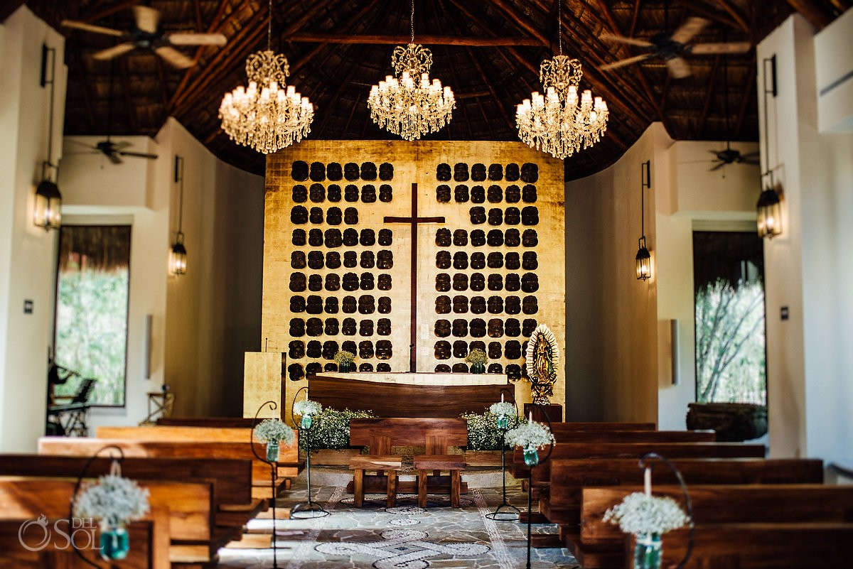 Santa Cruz Chapel Wedding main plaza Pueblito Mayakoba sophisticated venue for a traditional, religious ceremony Playa del Carmen Riviera Maya Mexico