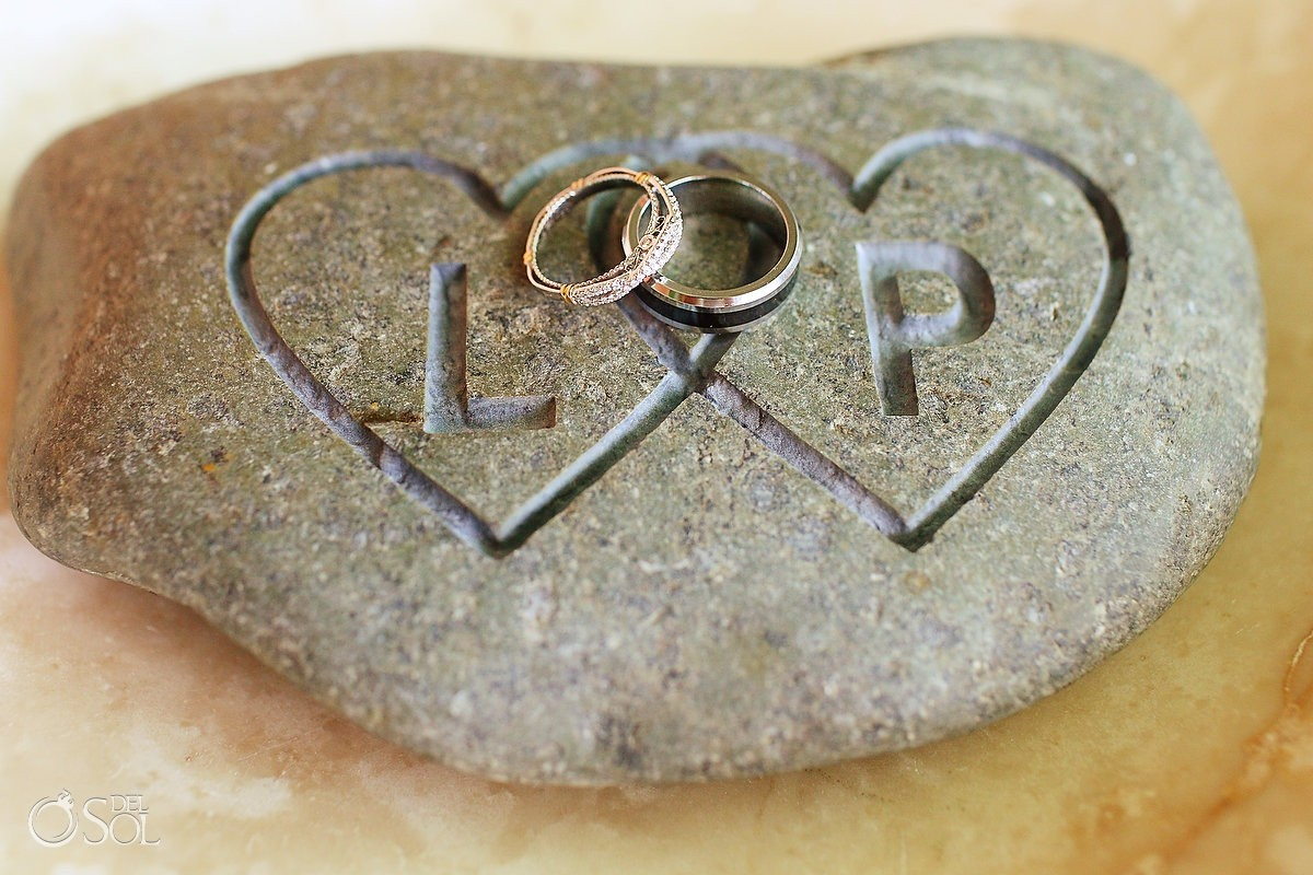 unity ceremony ideas celtic oathing stone destination beach wedding Beach Palace Cancun