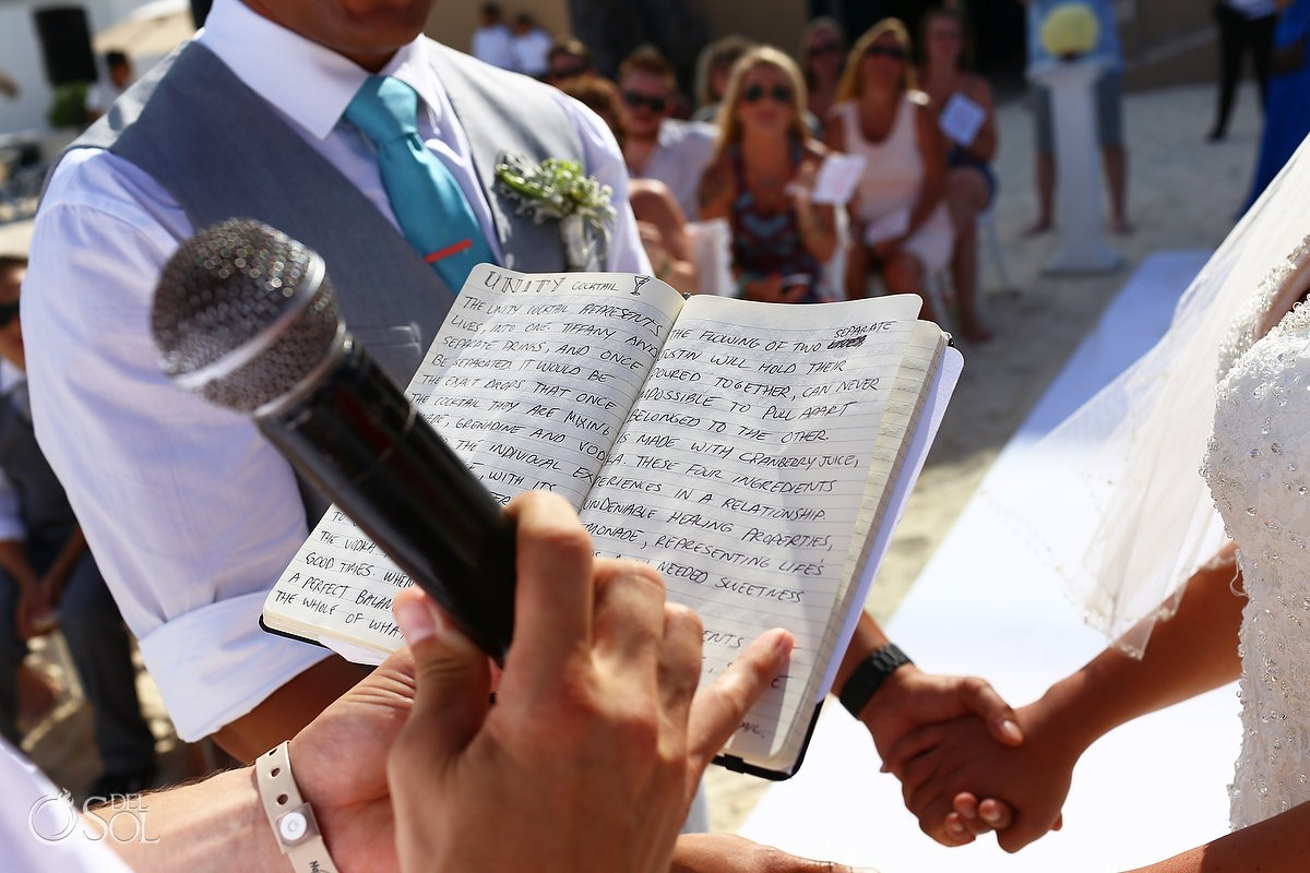 Destination wedding officiant reads unity cocktail recipie fun wedding ideas Hard Rock Hotel Cancun