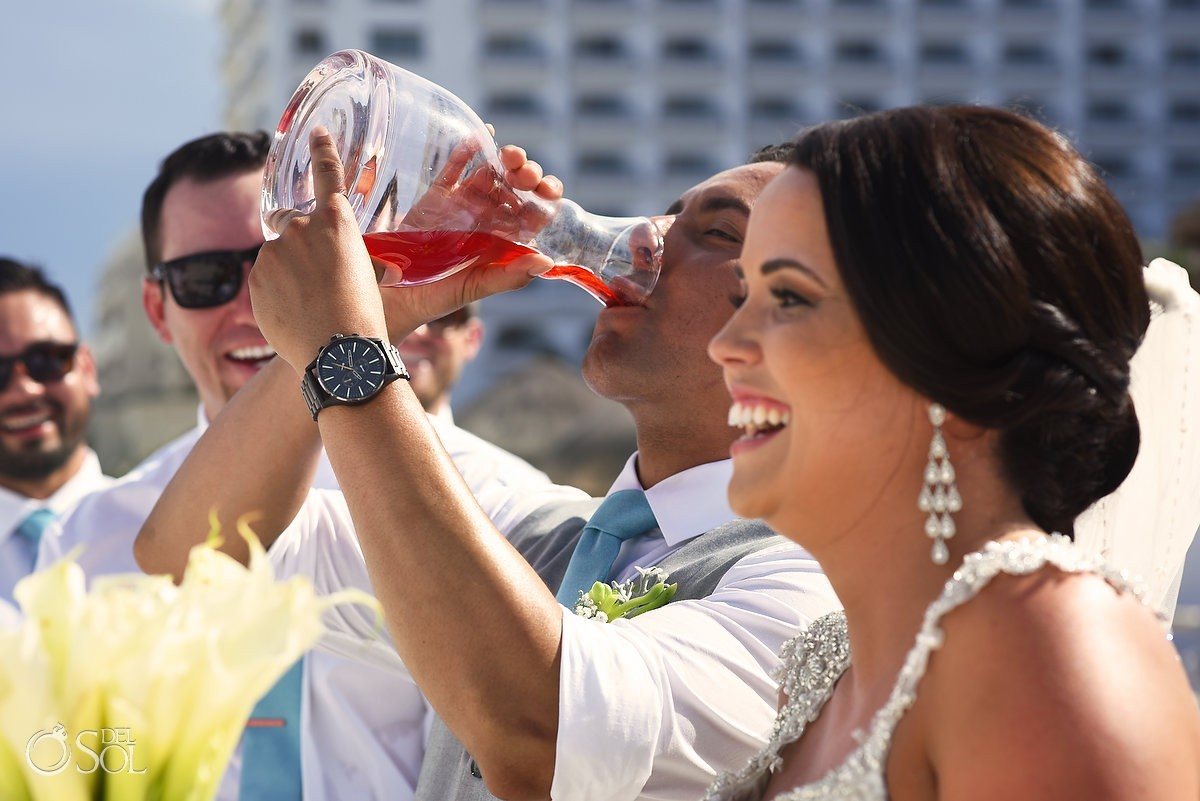 Groom drinks wedding unity ceremony cocktail Hard Rock Hotel Cancun