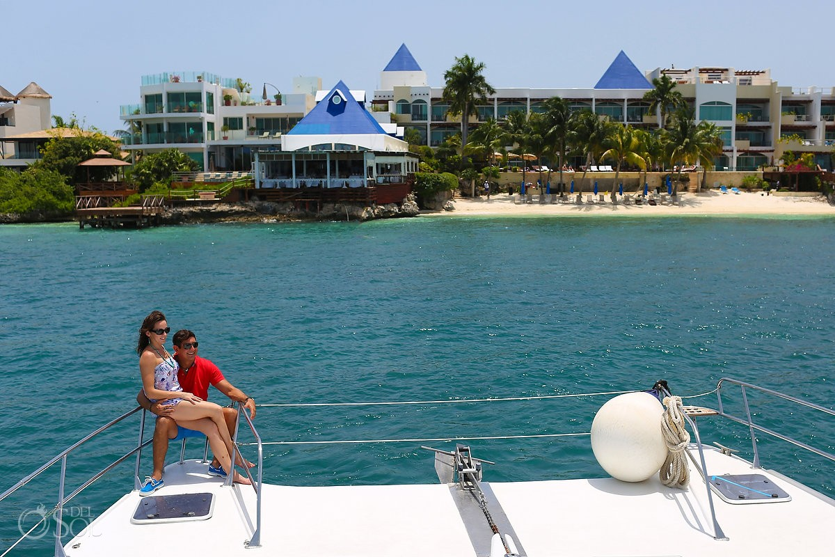 arriving private charter yacht The Cocoon to boutique hotel Zoetry Villa Rolandi, Isla Mujeres, Cancun, Mexico
