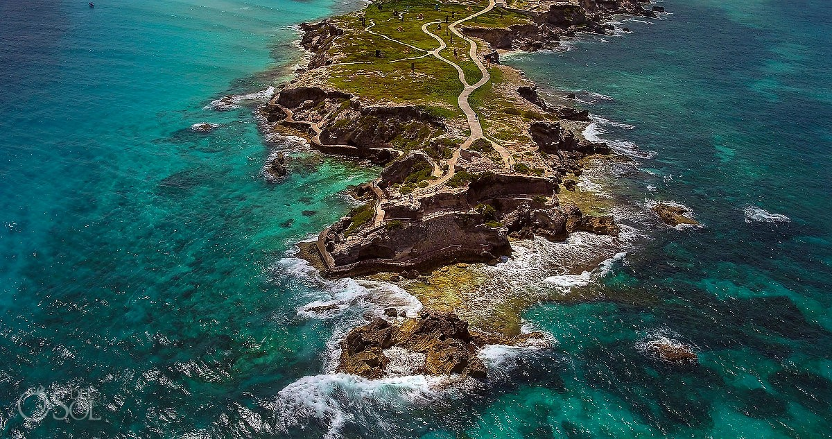 Drone photograph at Punta Sur, Isla Mujeres, Cancun, Mexico