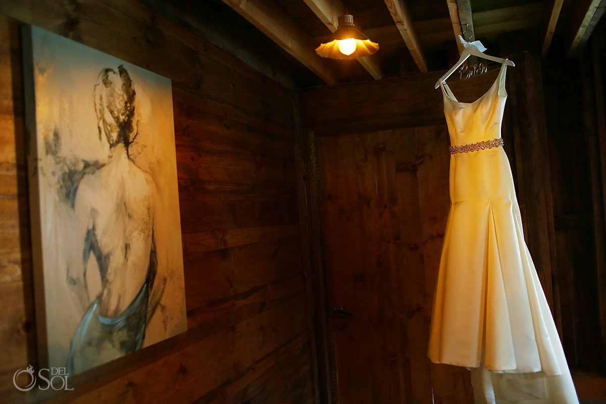 david's bridal gown hanging at Bloom Lake Barn