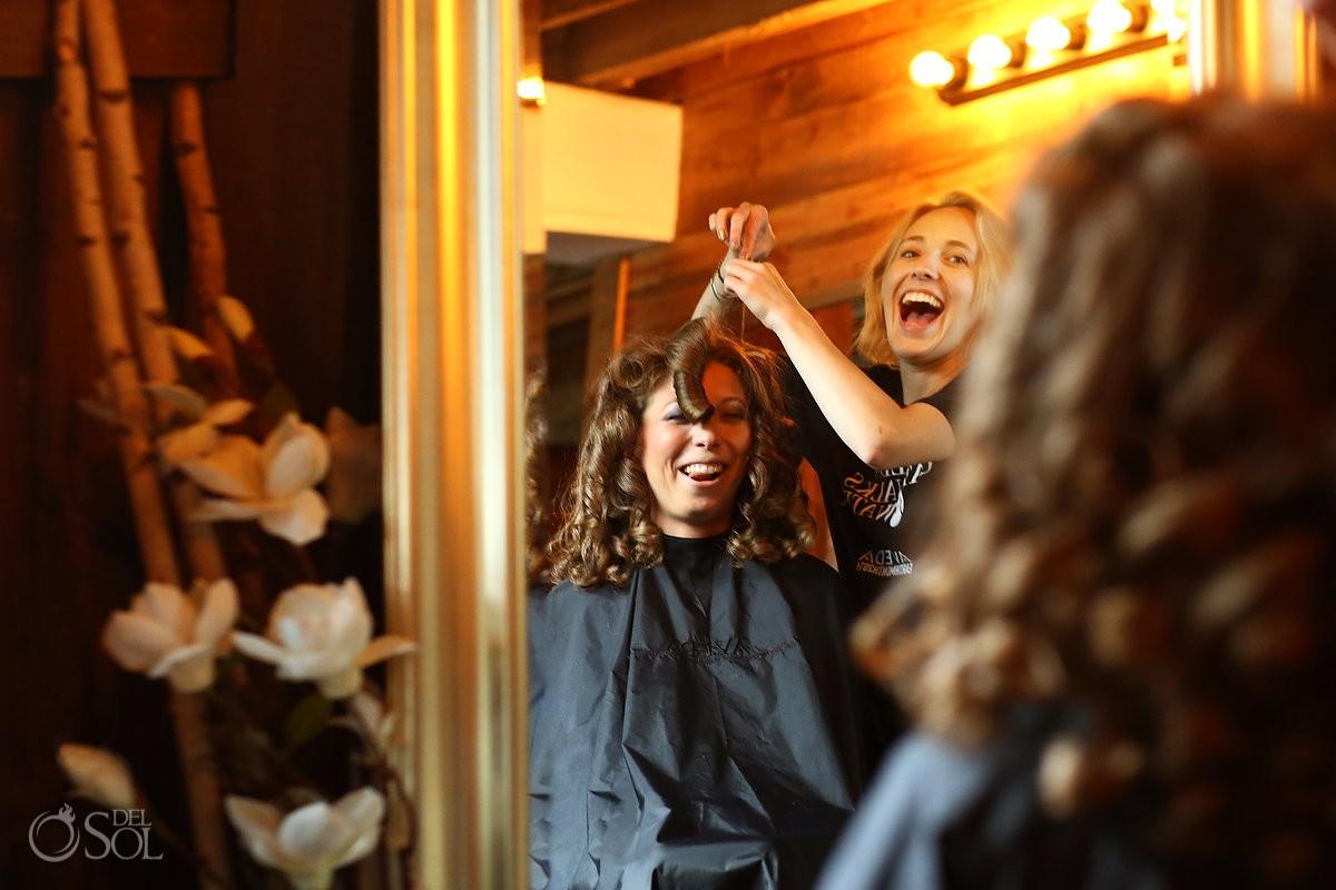 bride getting ready in Bloom Lake Barn, Shafer, Minnesota