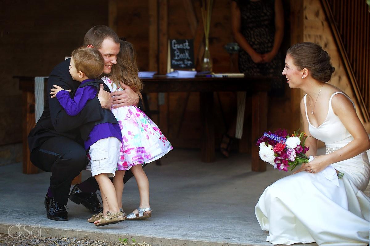 children at wedding Wedding at Bloom Lake Barn
