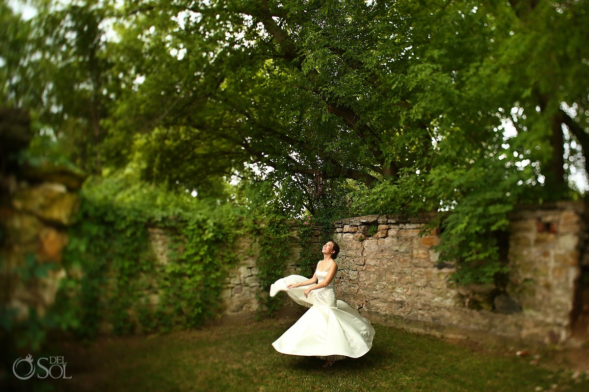 bride spinning ruins at Bloom Lake Barn, Shafer