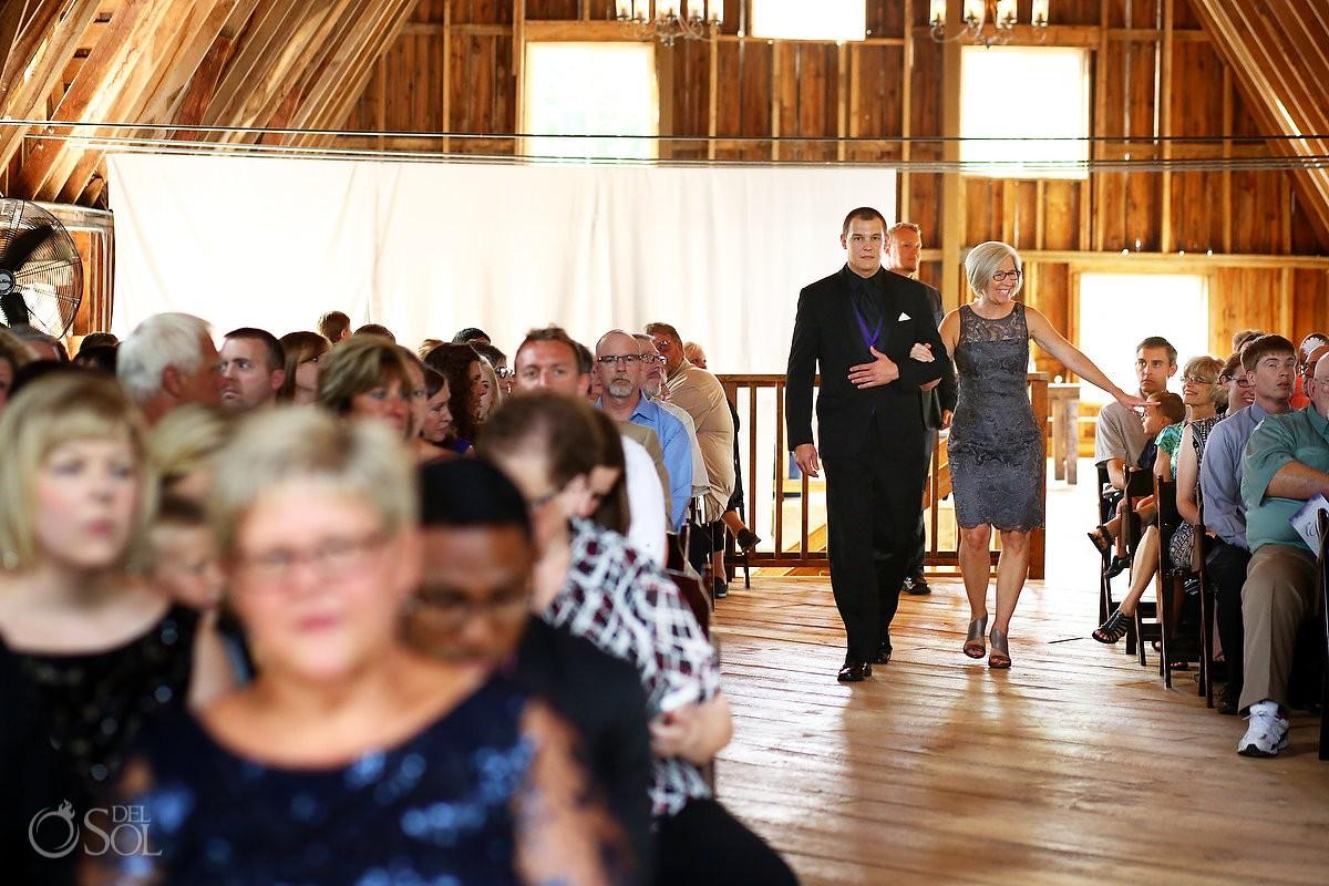 wedding processional at Bloom Lake Barn, Shafer, Minnesota