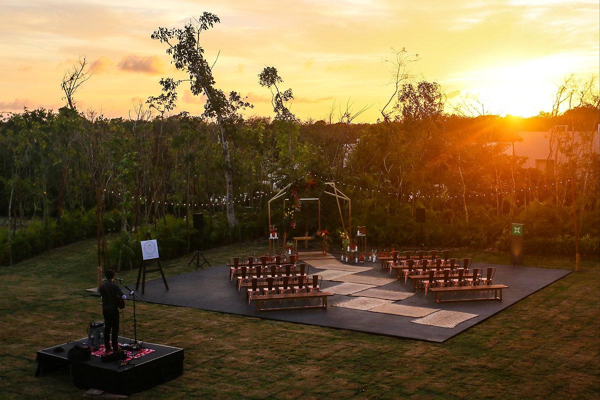 Playa del Carmen destination wedding set up areal view Cantiero Weddings Andaz Mayakoba Casar 2017