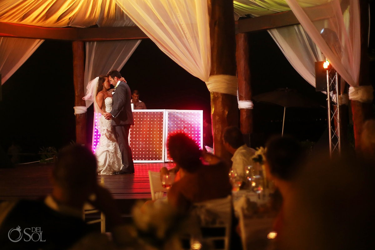 first dance bride and groom wedding reception gazebo Royal Playa del Carmen Mexico