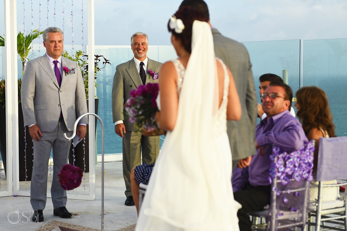 first look terrace wedding ceremony Beach Palace, Cancun, Mexico.