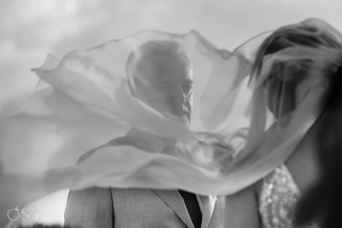 beautiful bride veil flying, wedding ceremony Beach Palace, Cancun, Mexico.