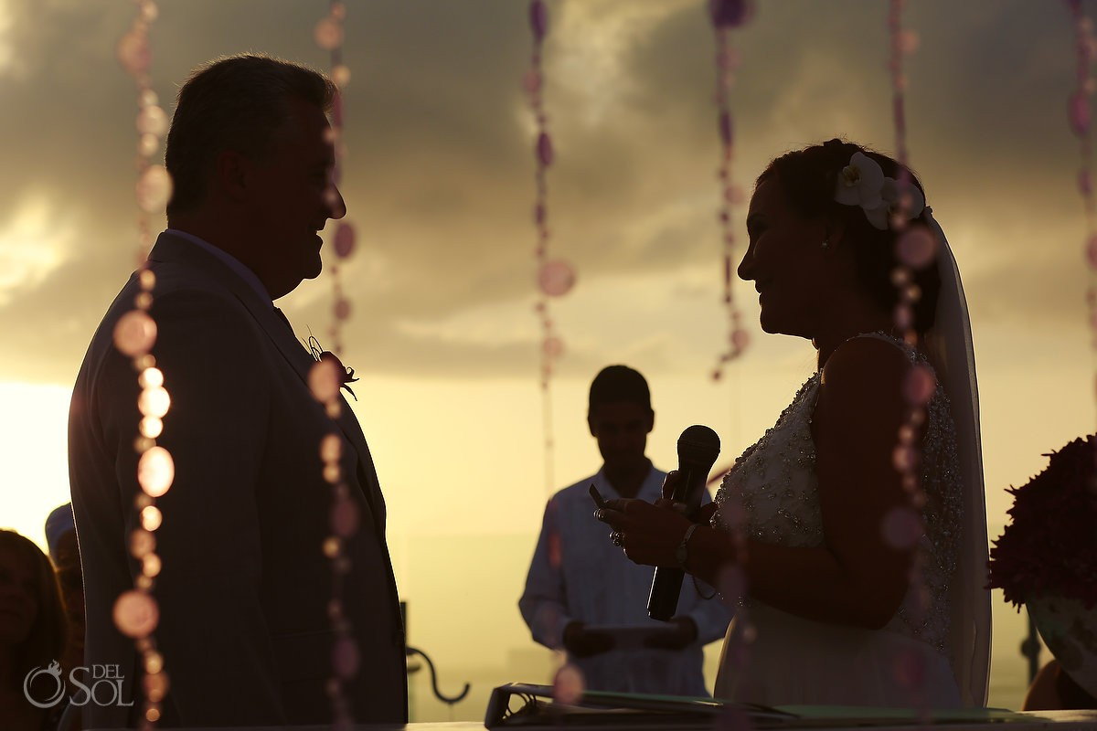 sunset wedding ceremony, sky terrace, Beach Palace, Cancun, Mexico.