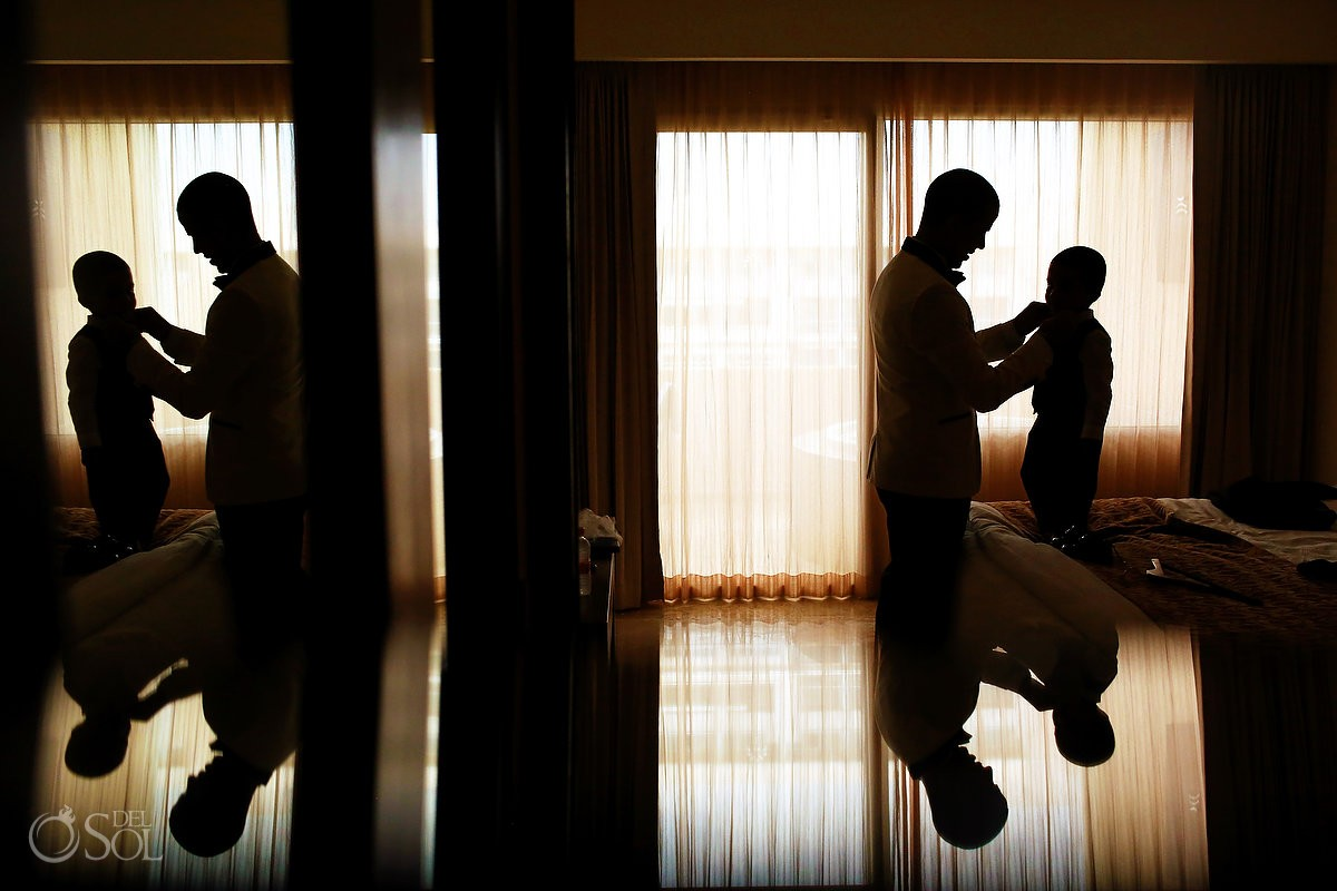 groom and son getting ready, destination wedding Paradisus la Perla Playa del Carmen, Mexico